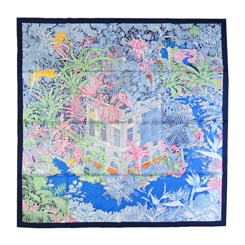 HERMES Faubourg Tropical 90 熱帶郊區真絲方巾(藍)