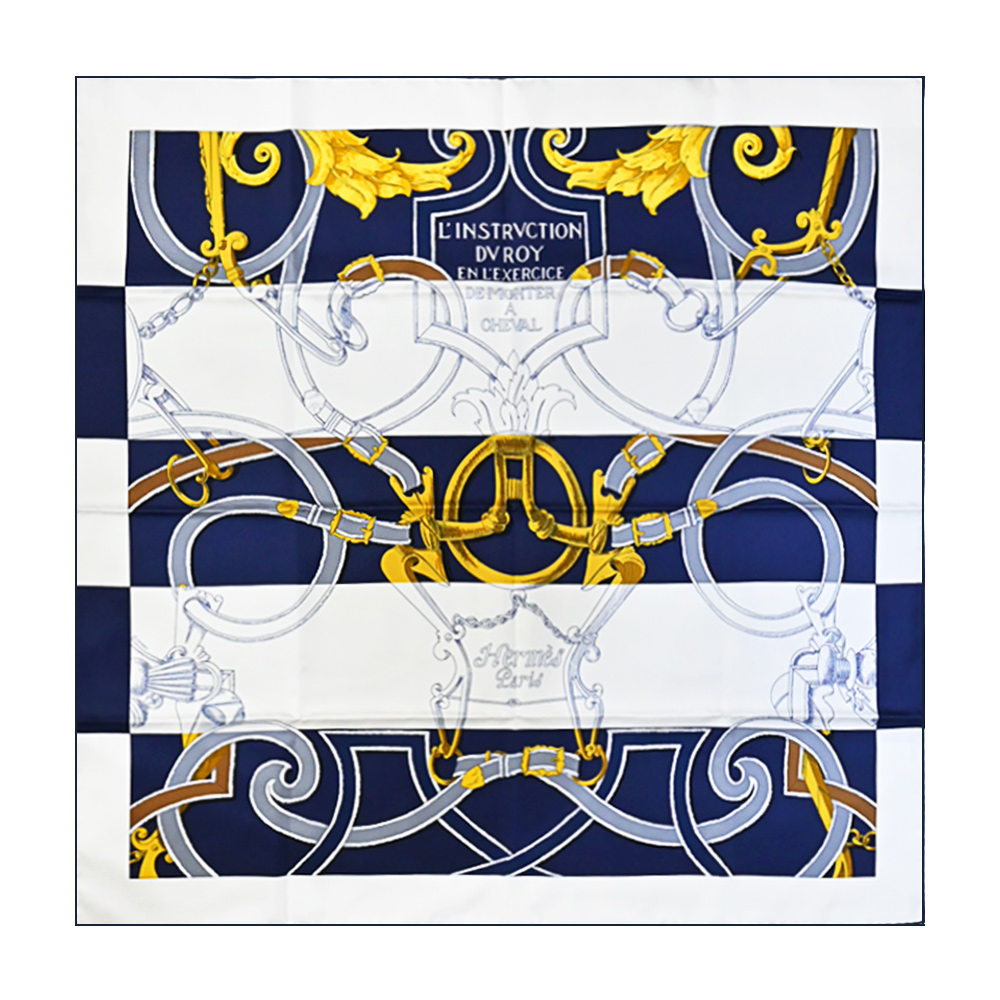 HERMES LInstruction du Roy Bayadere 90 環釦鍊真絲方巾(白X藍)