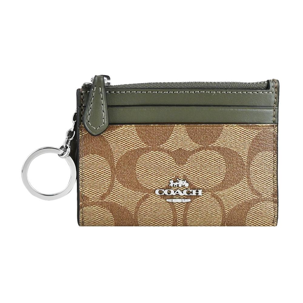 COACH 立體馬車LOGO PVC卡夾鑰匙零錢包((卡其綠)