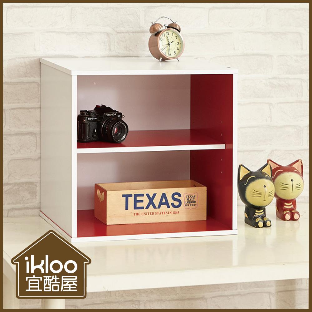 【ikloo】現代風二格收納櫃/置物櫃-紅