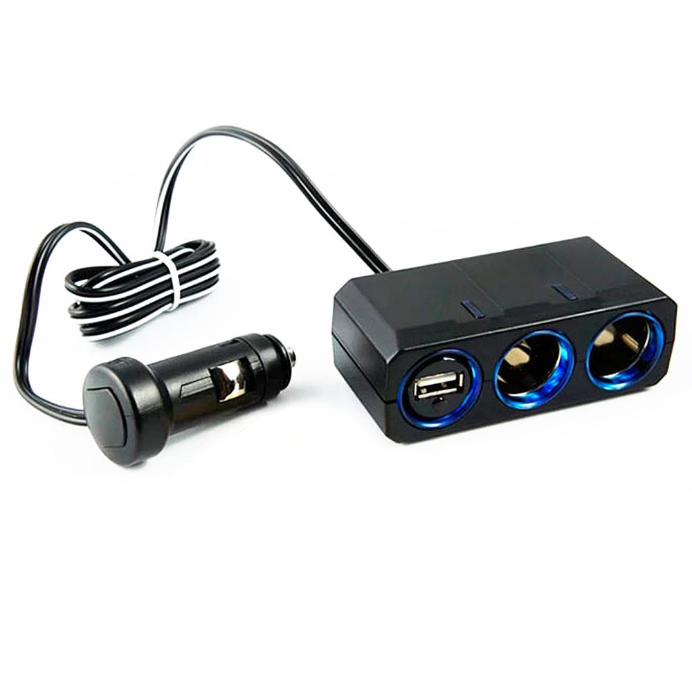 【日本槌屋YAC】12V延長線兩孔附USB插座 (汽車︱擴充器︱充電器)