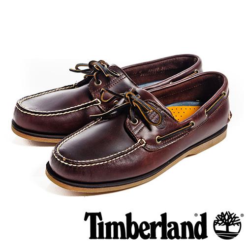 【福利網獨享】 Timberland 經典雙孔帆船鞋男鞋-酒紅