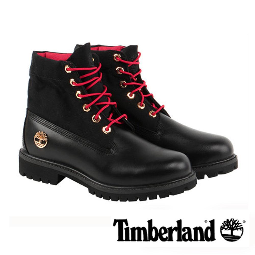 Timberland CNY春節限定款黑色中國幸運結翻領靴男款-黑