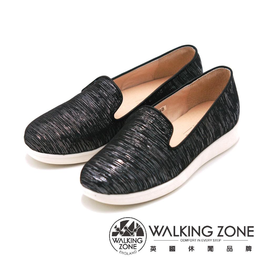 WALKING ZONE 金屬質感平底 女鞋-黑(另有白)