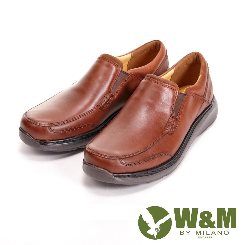 【W&M】寬楦懶人系列 直套式紳士休閒 男皮鞋-咖(另有黑)