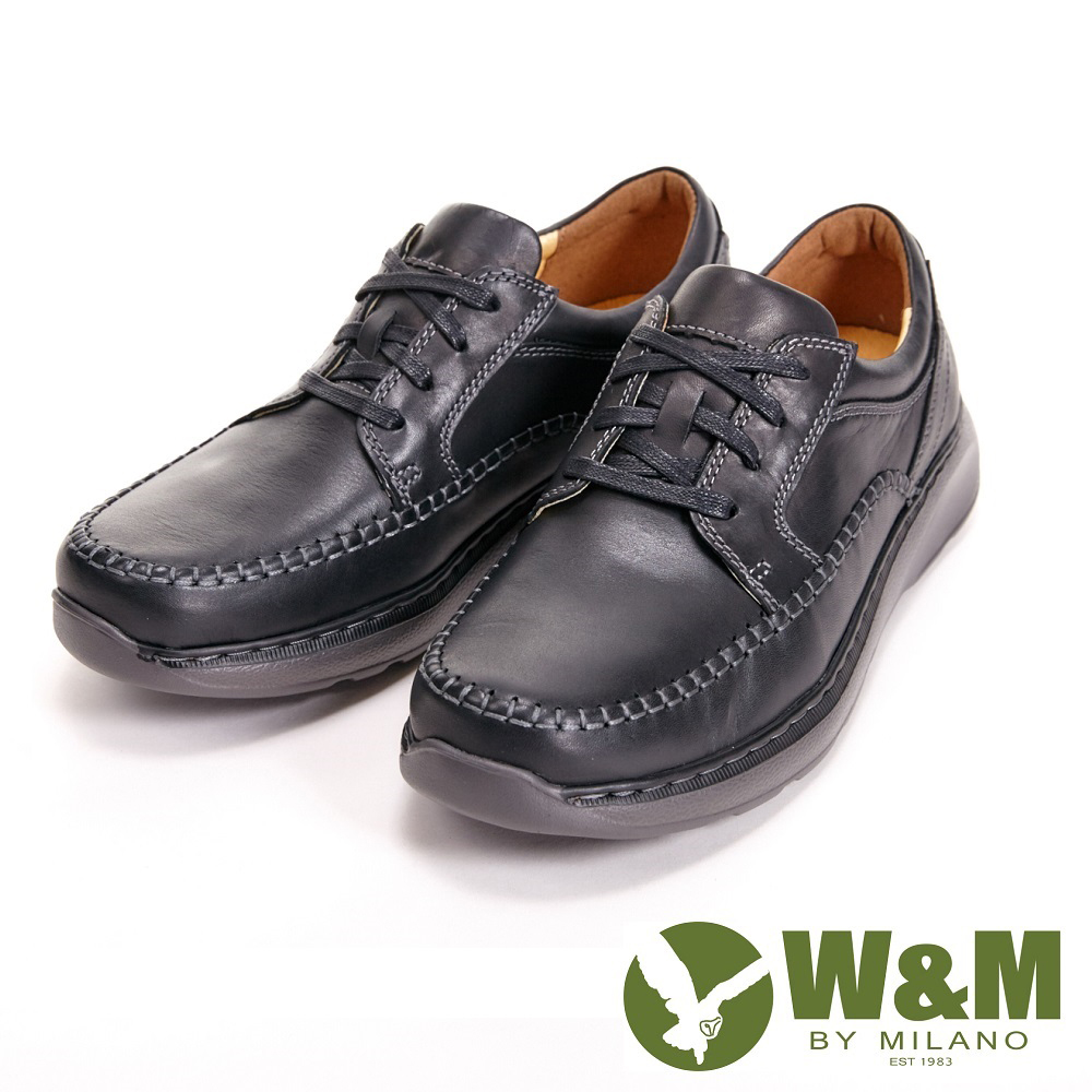 【W&M】寬楦懶人系列 手工車縫綁帶休閒 男鞋-黑(另有咖)