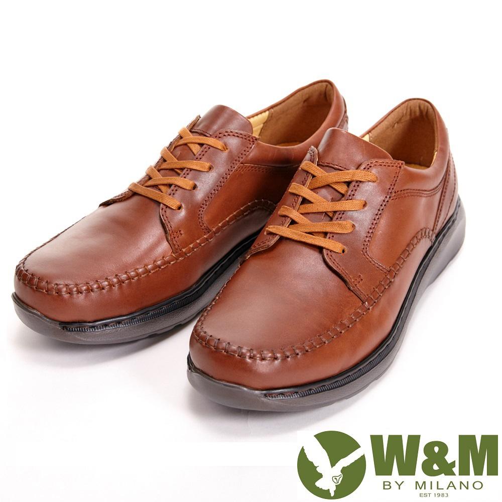 【W&M】寬楦懶人系列 手工車縫綁帶休閒 男鞋-咖(另有黑)