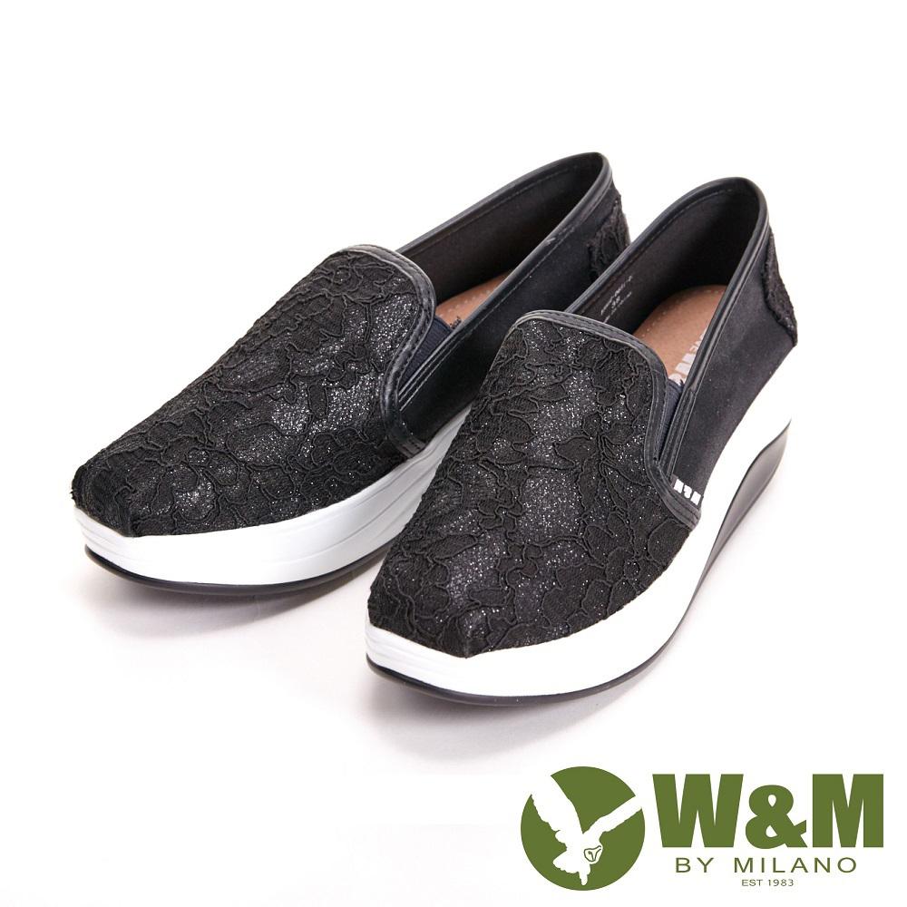 W&M BOUNCE系列 超彈力復古蕾絲花厚底增高 女鞋-黑(另有粉)