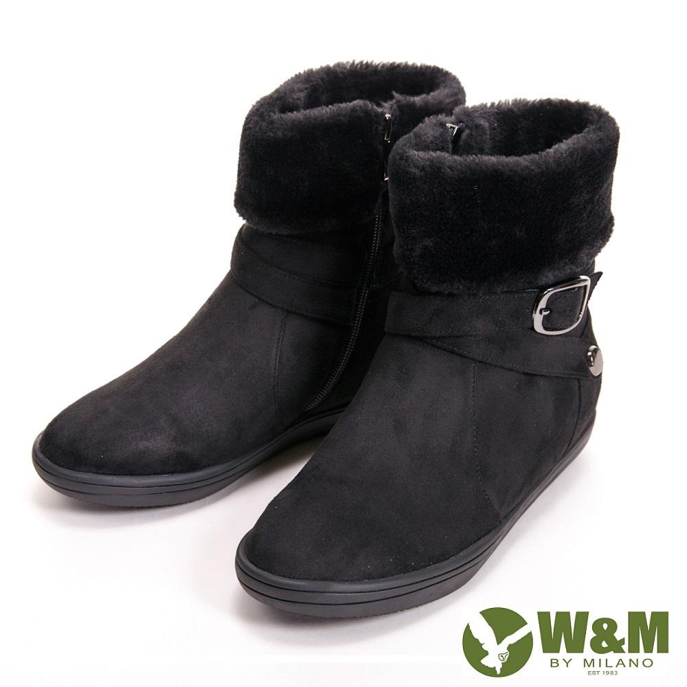 【W&M】經典毛絨反摺造型拉鍊式中筒 女靴-黑(另有藍)