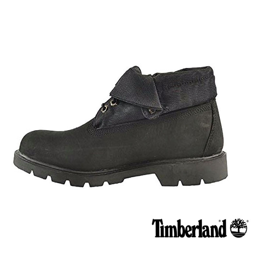 Timberland 低筒拼接翻靴男款-黑色