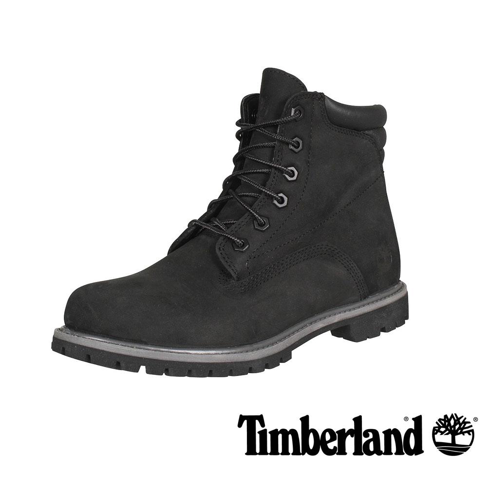 Timberland 黑色正絨面皮革6 吋靴-女款
