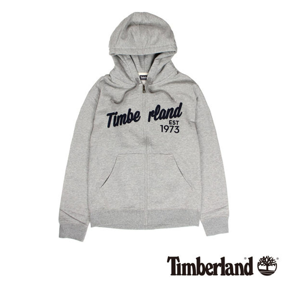 Timberland 灰色拉鍊連帽運動衫-男款