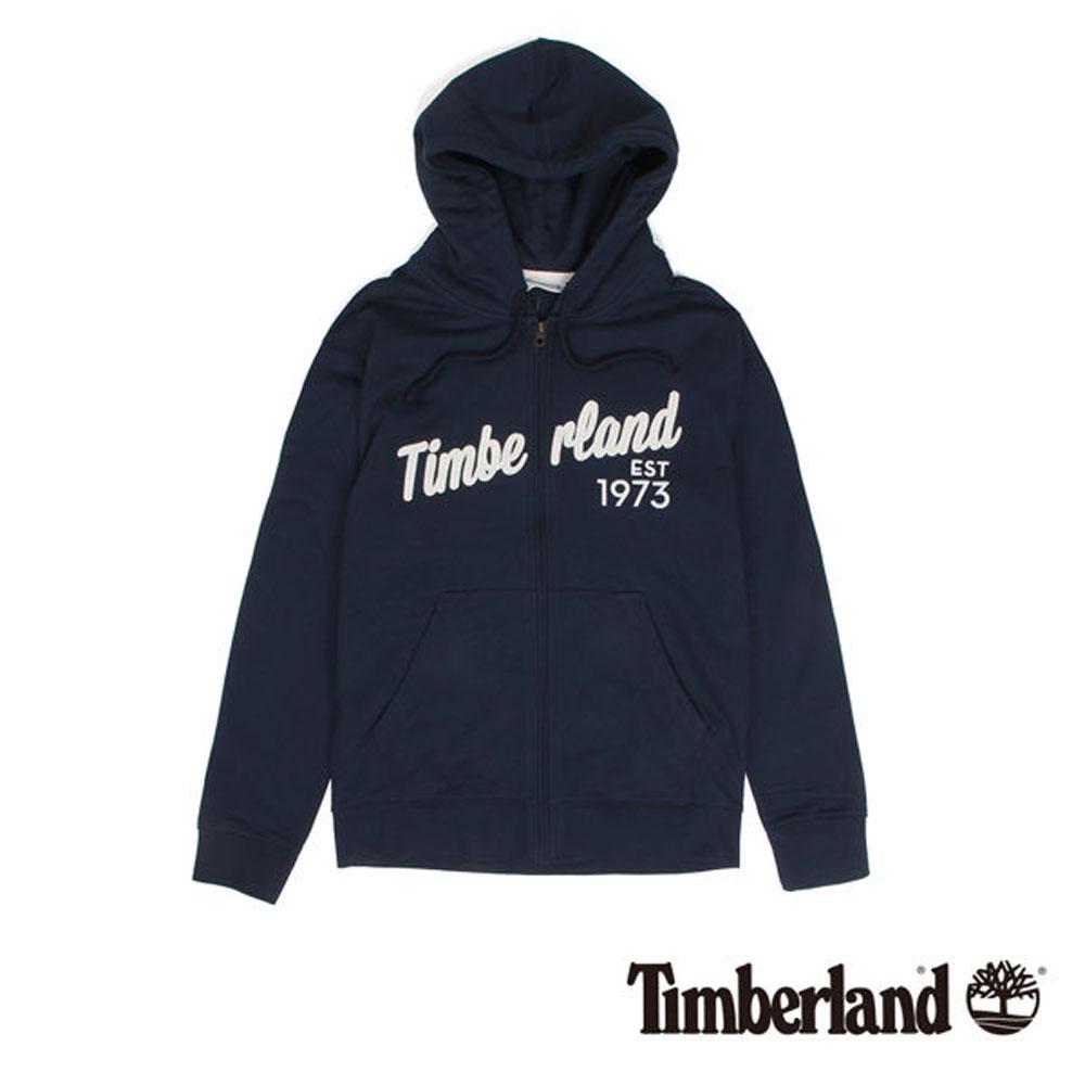 Timberland 藍色拉鍊連帽運動衫-男款