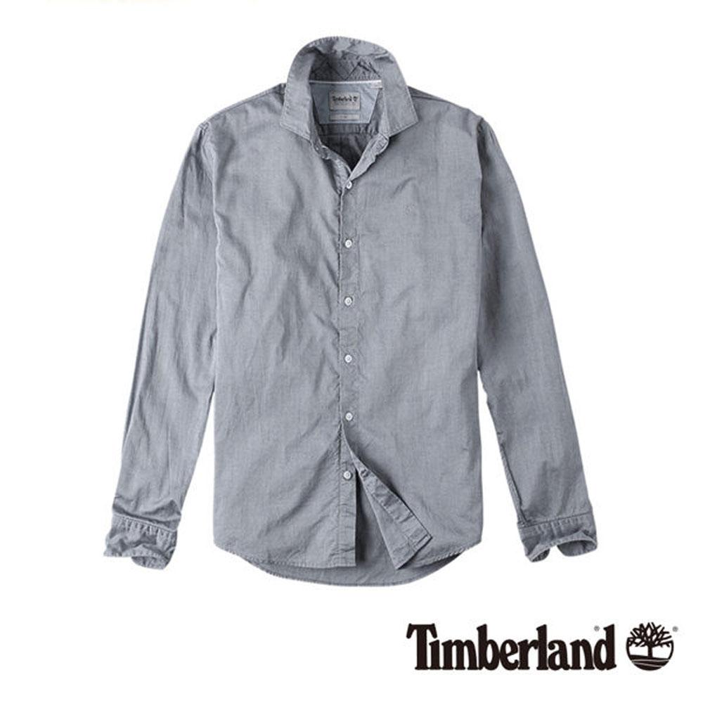 Timberland 淺灰長袖 LANE RIVER 修身版牛津襯衫-男款