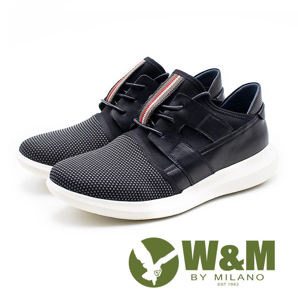 W&M 透氣拼接直套運動休閒鞋 男鞋 - 黑(另有藍)