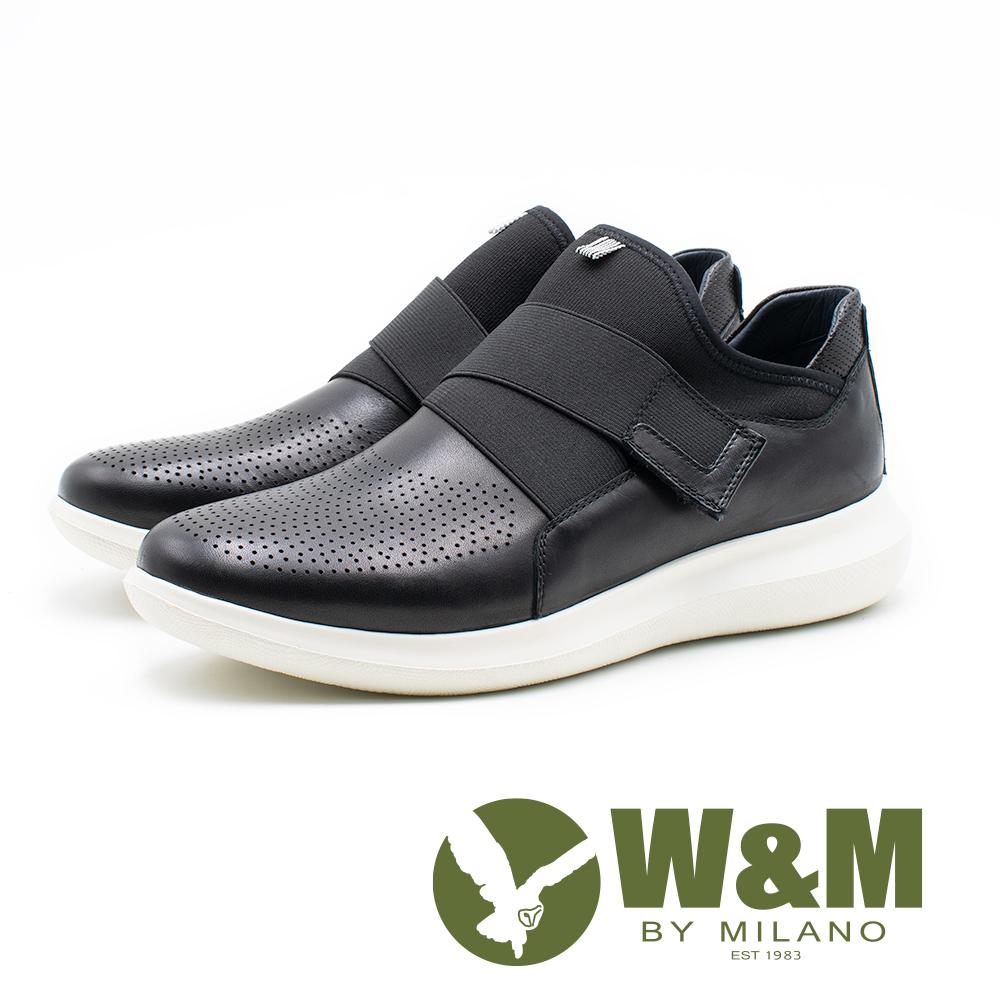 W&M 皮質彈性帶直套式運動休閒鞋 男鞋 - 黑(另有棕)