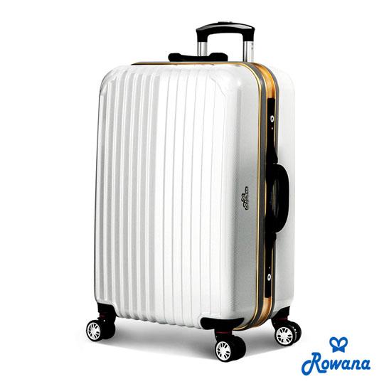 Rowana 金燦炫光PC鏡面鋁框行李箱 25吋 (典雅白)