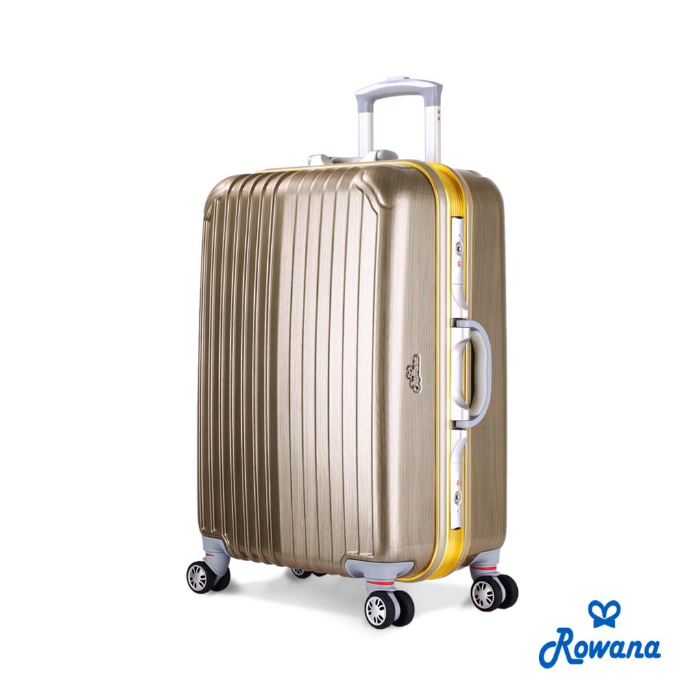Rowana 金燦炫光PC鏡面鋁框行李箱 25吋 (香檳金)