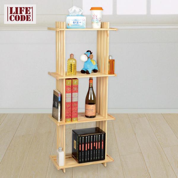 【LIFECODE】極簡風黃松木正三格架/實木置物架/書架/花架
