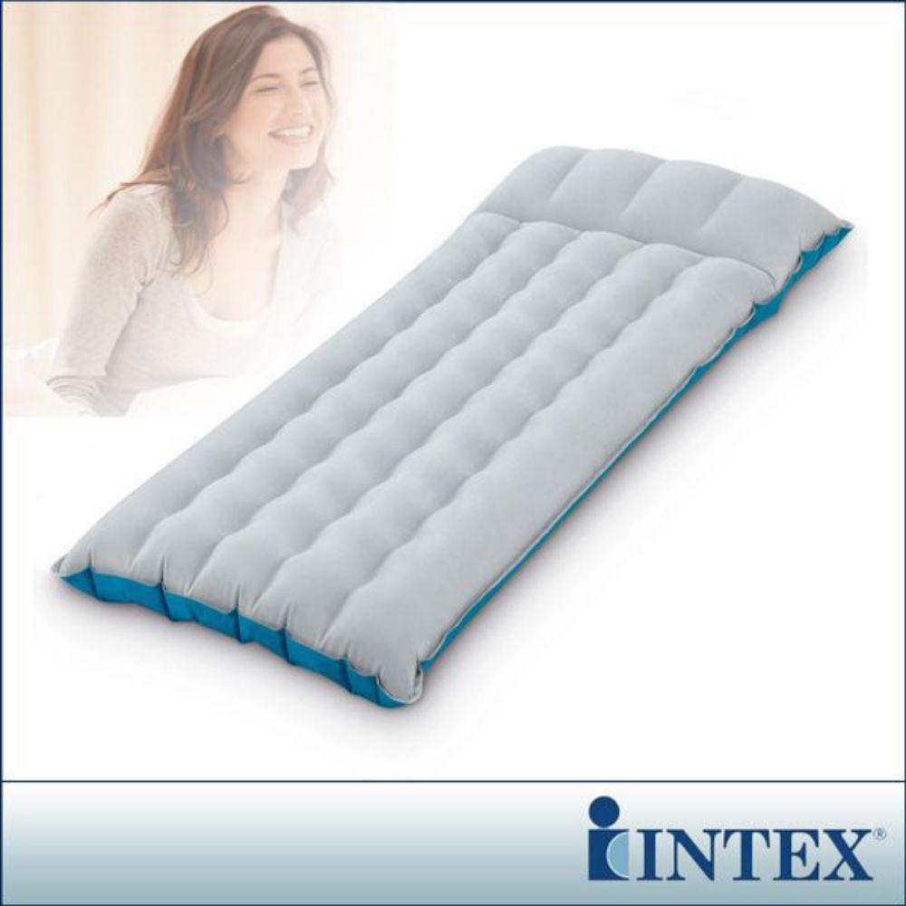 【INTEX】單人野營充氣床墊/露營睡墊-寬67cm (灰藍色)(67997)