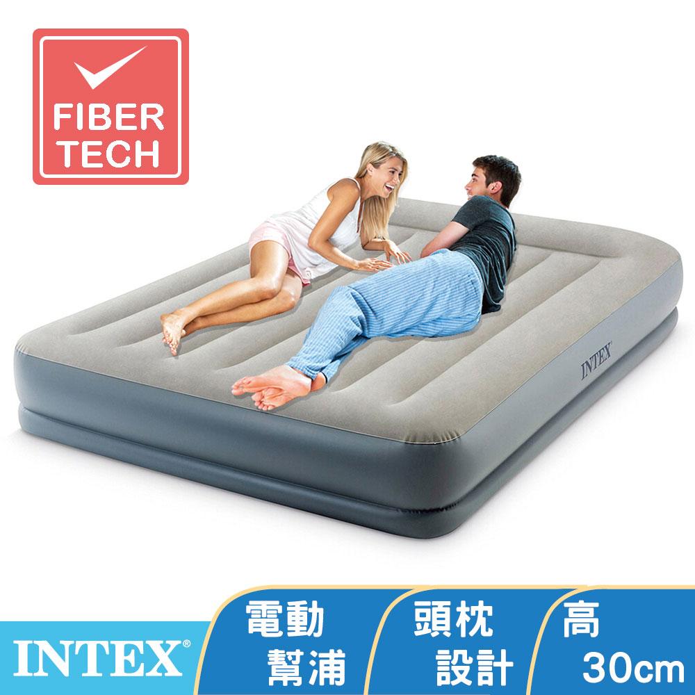 【INTEX】舒適雙層內建電動幫浦充氣床墊(fiber tech)-有頭枕-雙人加大-寬152cm(64117)