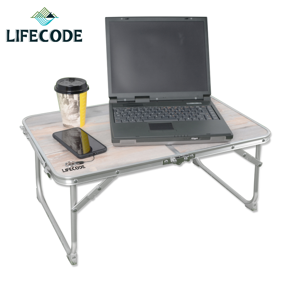 【LIFECODE】橡木紋便攜鋁合金折疊桌/床上桌60x40cm