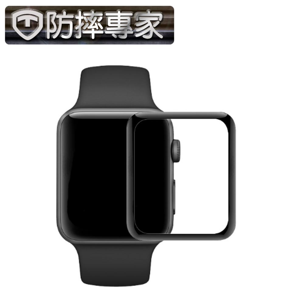 防摔專家Apple Watch 44mm 全螢幕3D曲面鋼化玻璃貼(黑邊)