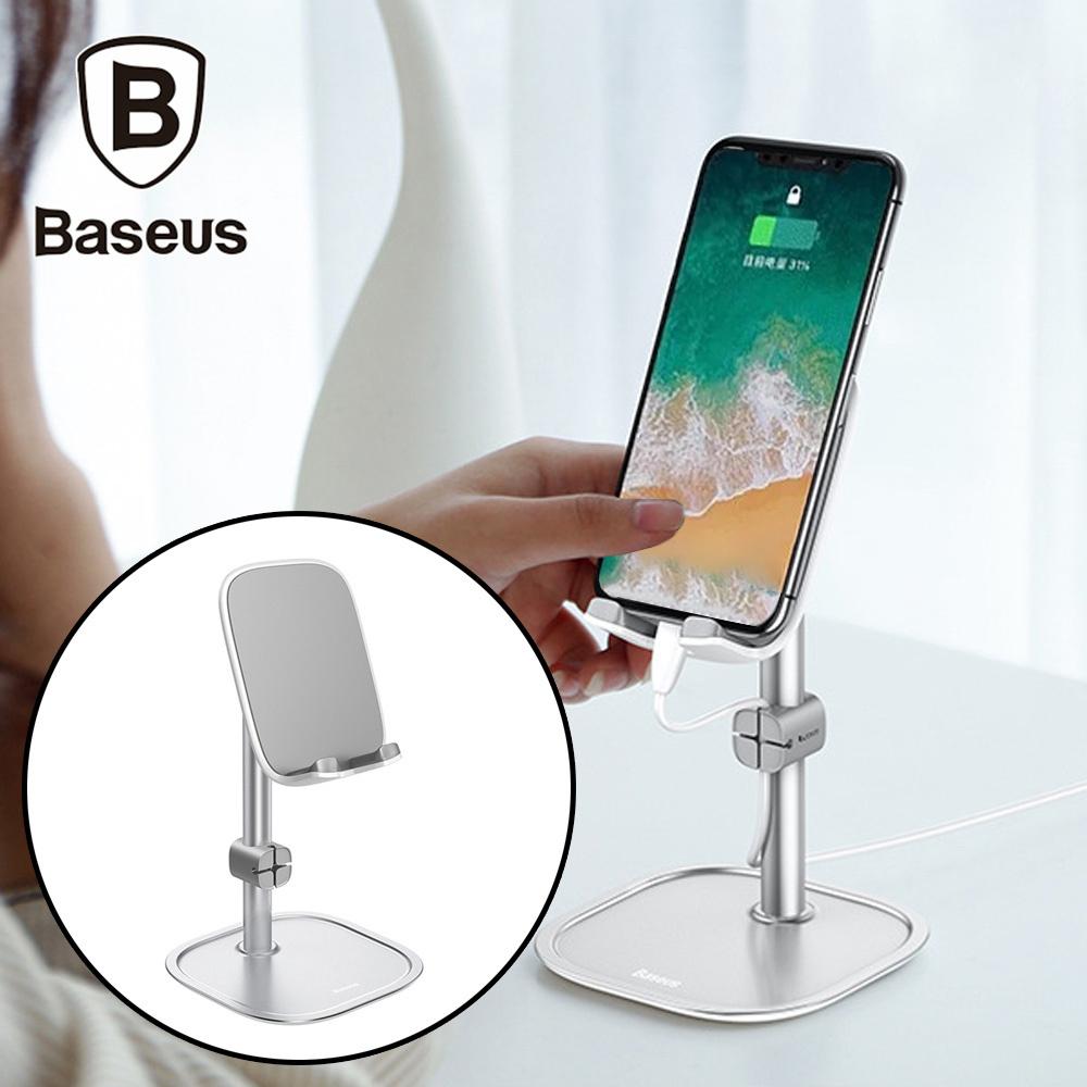 Baseus倍思 手機/平板伸縮式充電線收納槽支架 銀