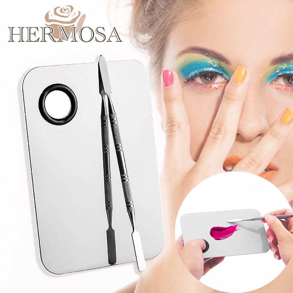 HERMOSA 彩妝粉底/口紅/美甲油不鏽鋼調色盤 11.5x7.5cm/1套