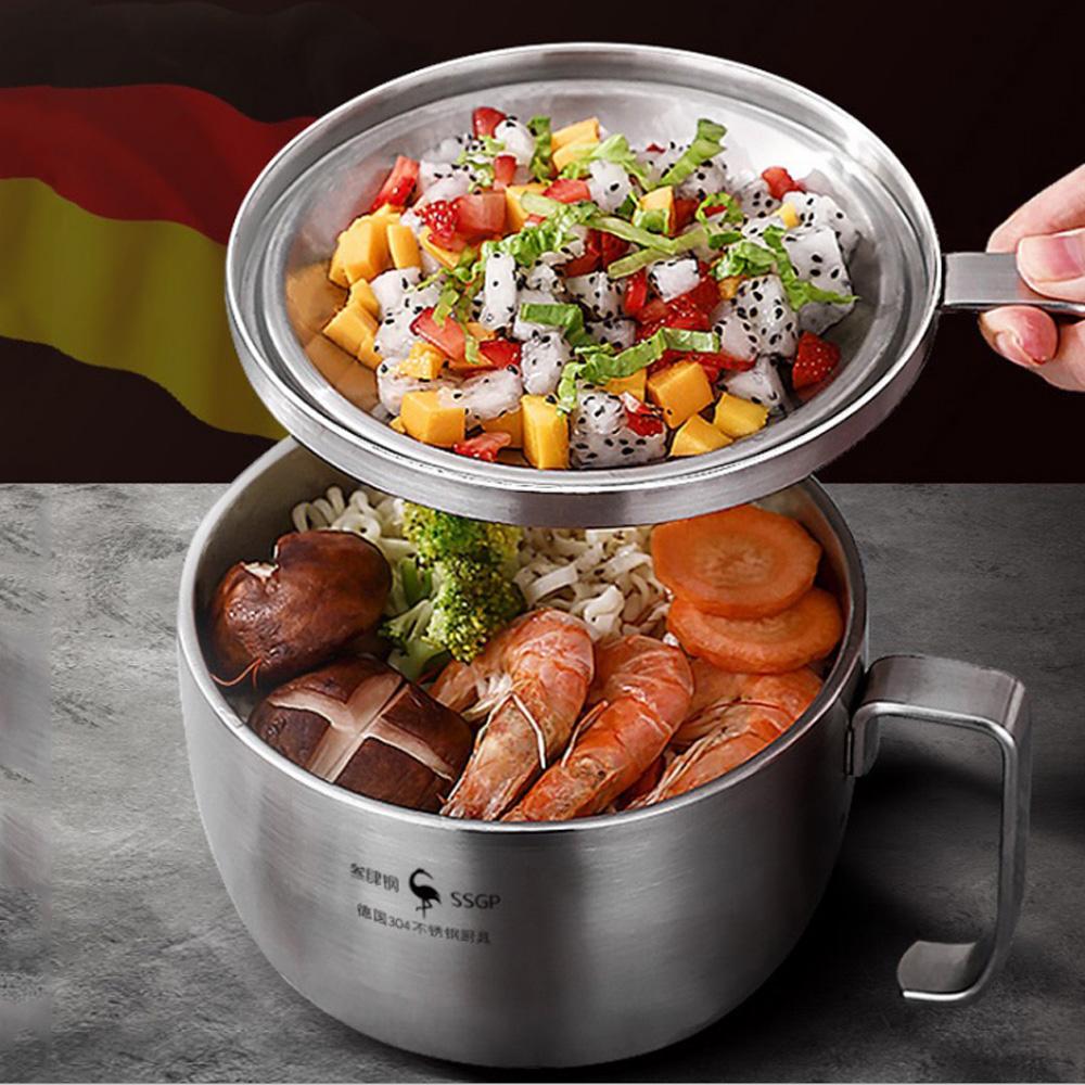 PUSH!餐具用品304不鏽鋼帶把帶蓋泡麵碗速食麵碗湯碗大號飯碗便當飯盒E140
