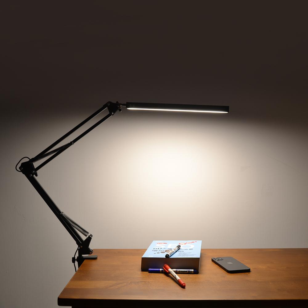 WASHAMl-工業風懸臂式閱讀工作燈(三種可調光色10段微調)夾式