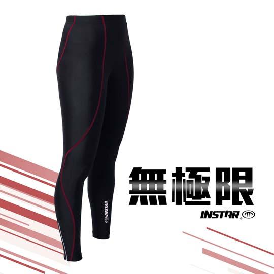 INSTAR 男女極速緊身長褲-緊身褲 台灣製 慢跑 路跑 籃球 內搭褲 黑紅@3121103@
