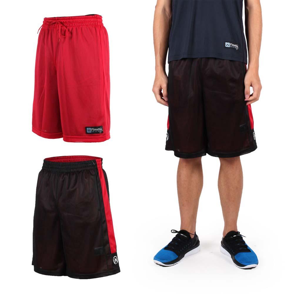 FIRESTAR 男雙面網布籃球短褲-慢跑 路跑 籃球 休閒 黑紅@B6306-10@