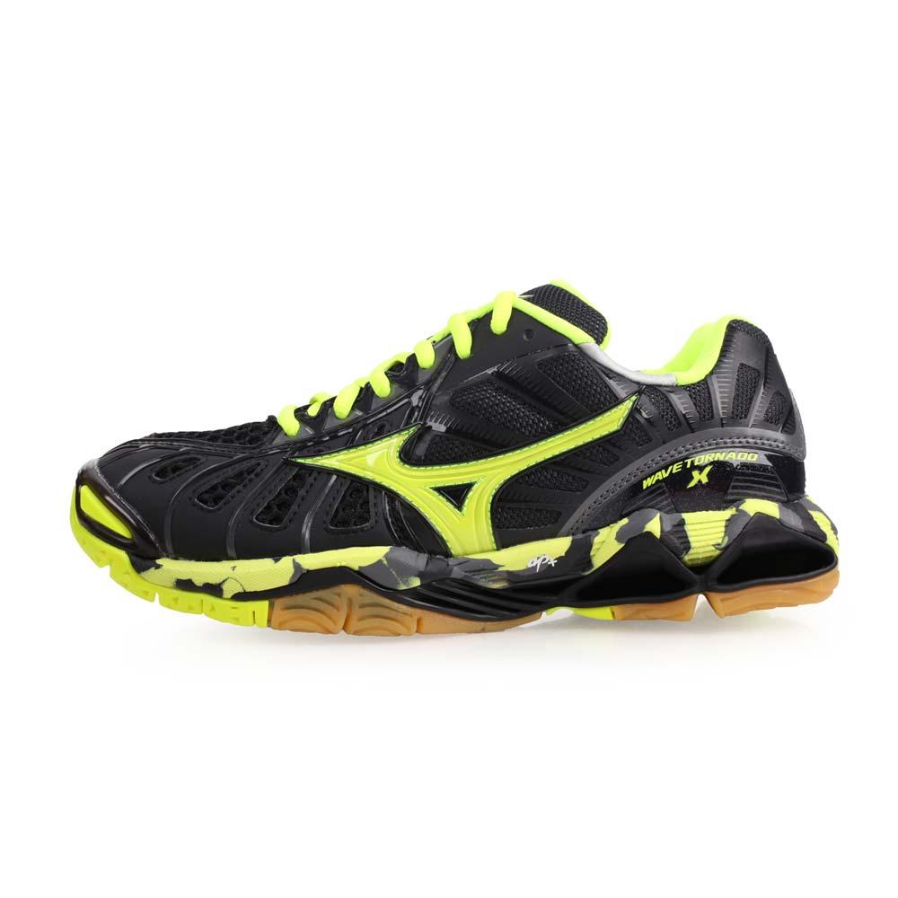 MIZUNO WAVE TORNADO X 男排球鞋-美津濃 螢光黃黑@V1GA161293@