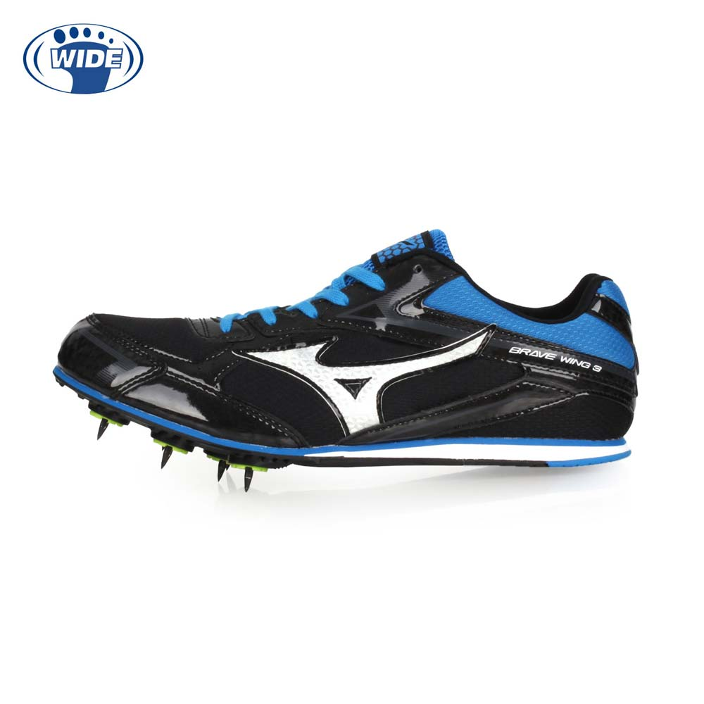 MIZUNO BRAVEWING 3 男女田徑釘鞋-WIDE-寬楦 競賽 美津濃 黑藍銀@U1GA183127@