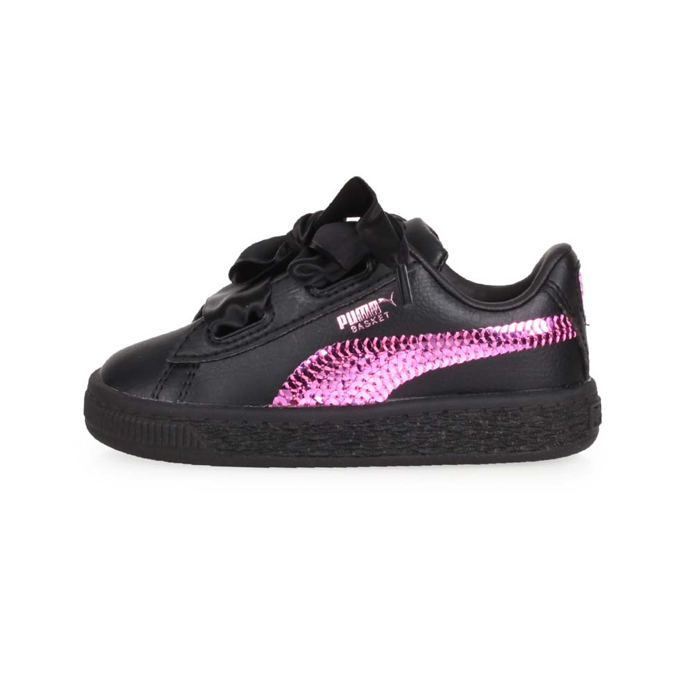 PUMA BASKET HEART BLING INF 女兒童休閒運動鞋-緞帶 慢跑 黑紫@36684901@