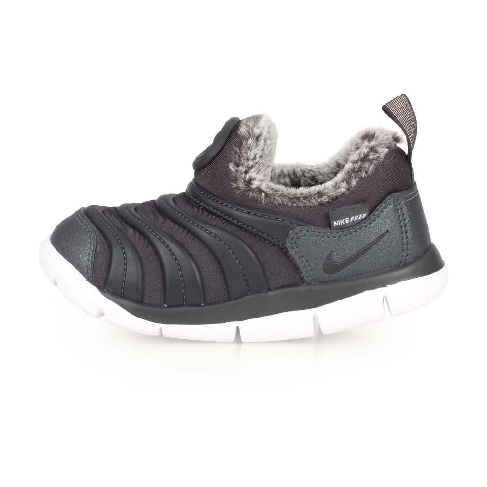 NIKE DYNAMO FREE SE-TD 女小童毛毛蟲鞋-慢跑 童鞋 黑灰白@AA7217002@