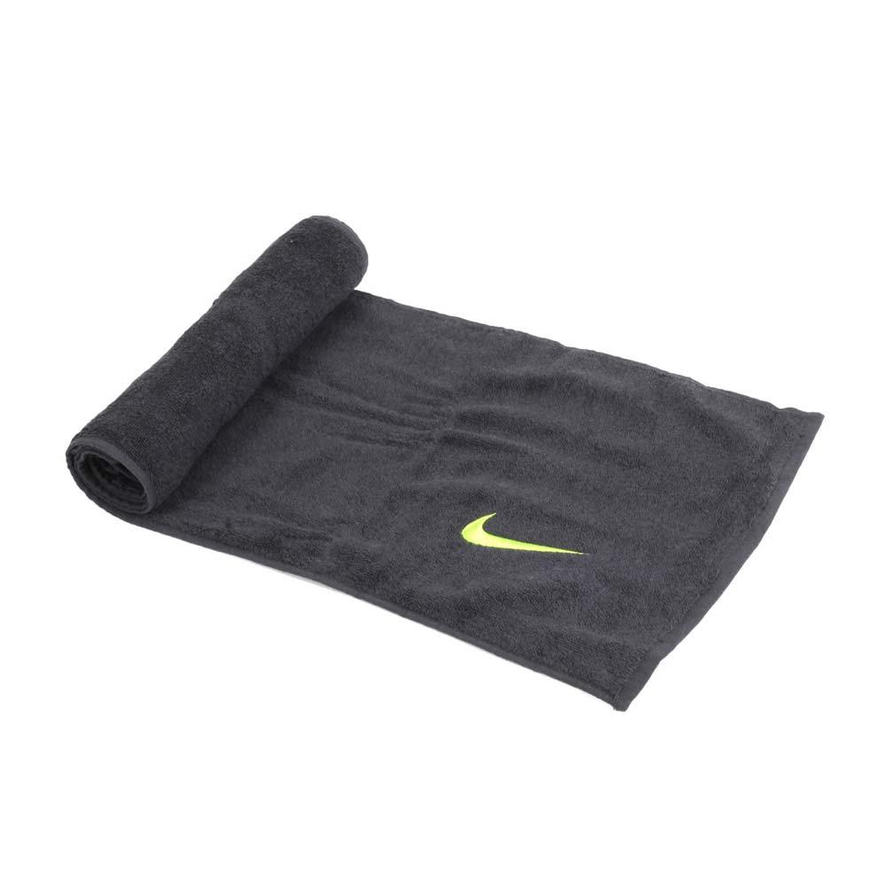 NIKE 日式盒裝長型毛巾-一只入 海邊 浴巾 游泳 戲水 慢跑 路跑 深灰螢光黃@NTTA9032NS@
