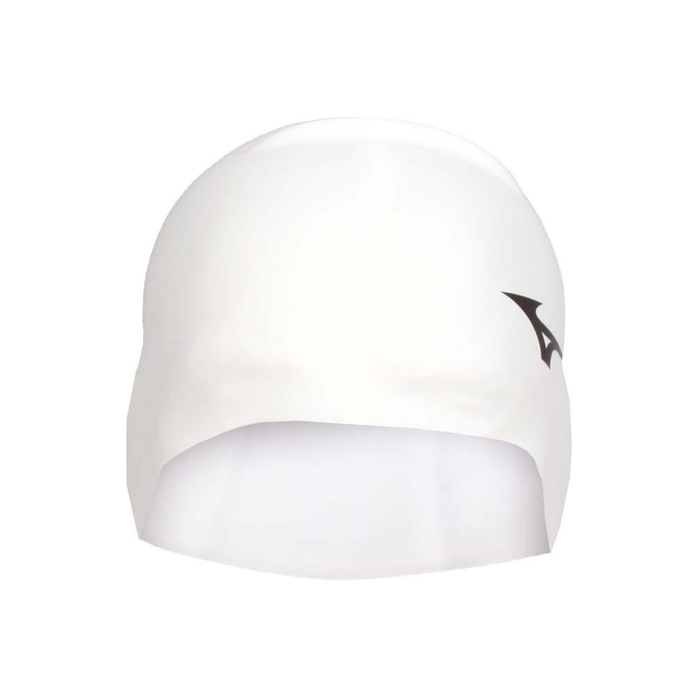 MIZUNO SWIM 矽膠泳帽-游泳 戲水 海邊 沙灘 美津濃 白黑@N2JW914000-01@