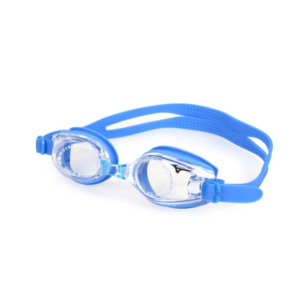 MIZUNO SWIM 男女童泳鏡-附鼻橋 美津濃 蛙鏡 游泳 戲水 透明藍@N3TF409500-13@