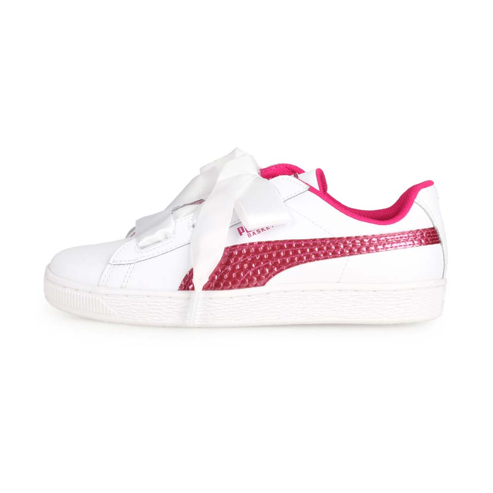 PUMA BASKET HEART COATED GLAM JR女大童休閒運動鞋 白桃紅@36897401@