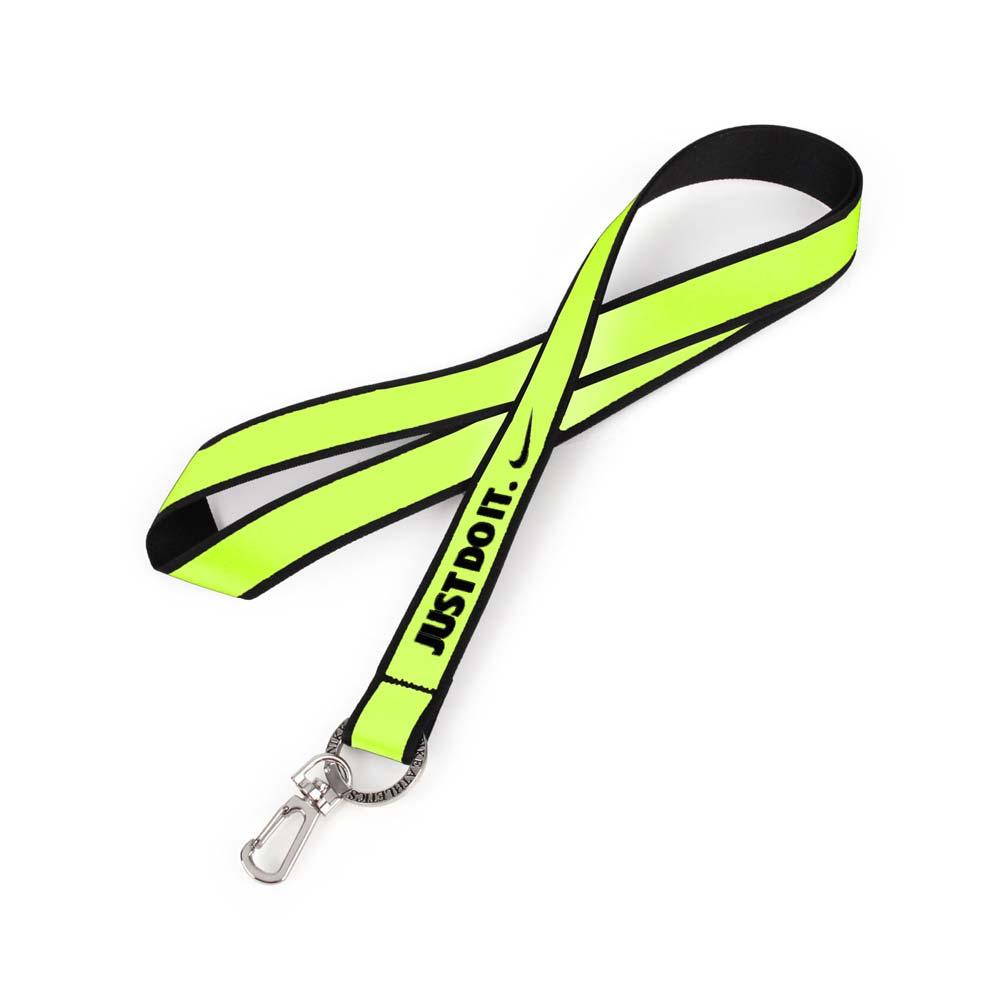 NIKE JUST DO IT 識別證吊帶 2.0-吊帶 掛袋 鑰匙圈 配件 螢光黃黑@NIAD8713NS@