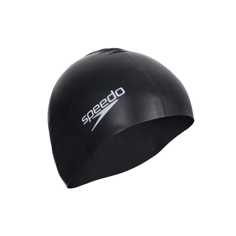 SPEEDO 成人矽膠泳帽-游泳 戲水 海邊 黑白@SD8709910001@