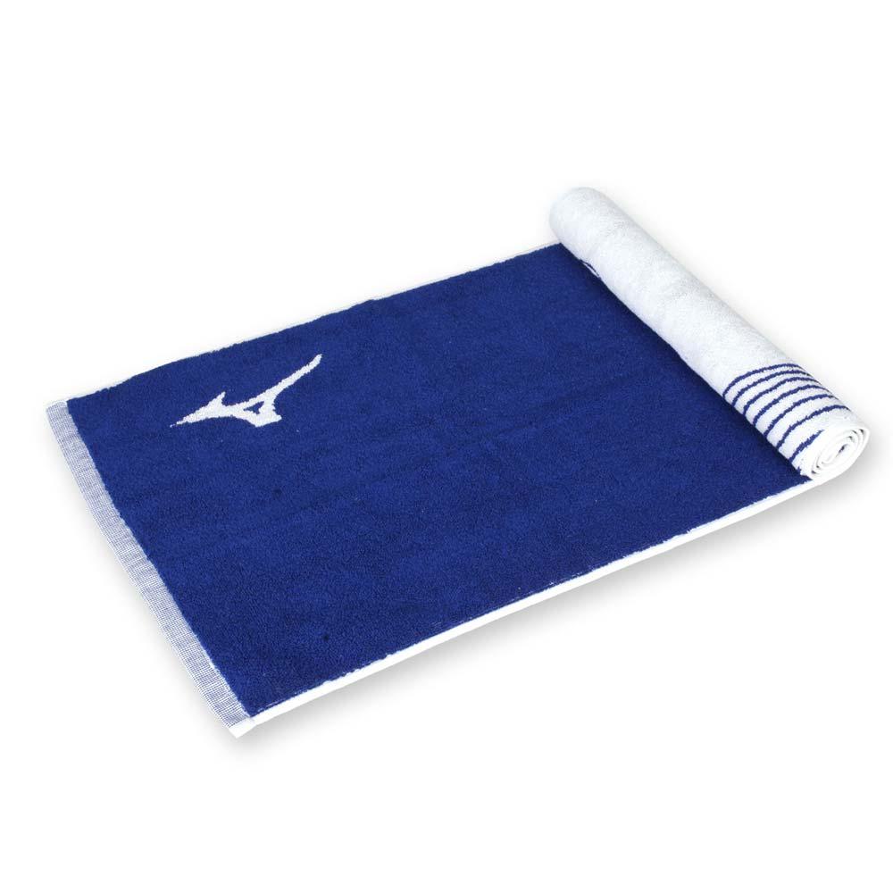 MIZUNO SWIM 運動毛巾-海邊 浴巾 游泳 戲水 慢跑 路跑 美津濃 丈青白@N2TY950127@