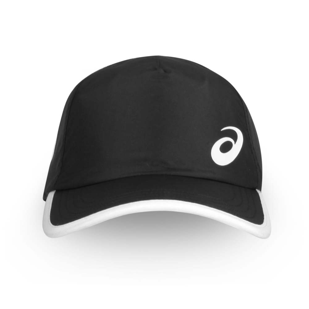 ASICS 網球帽-防曬 遮陽 帽子 鴨舌帽 亞瑟士 黑白@3043A022-001@