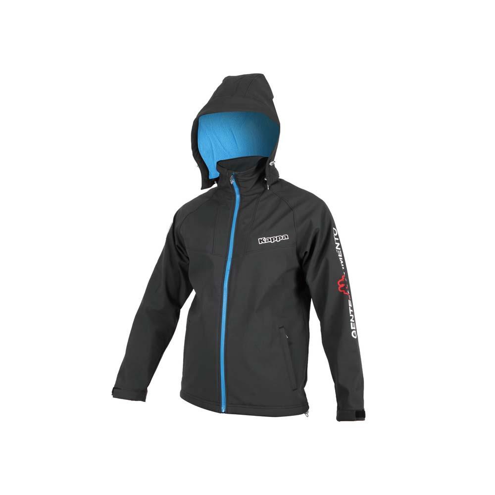 KAPPA 男防潑水刷毛裡外套-保暖 風衣 連帽外套 平織 黑白藍@3114DTW-B55@