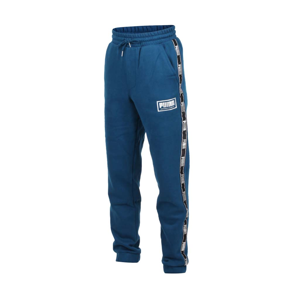 PUMA 男基本系列HOLIDAY長褲-刷毛 保暖 單層 針織 慢跑 墨藍銀@58185238@