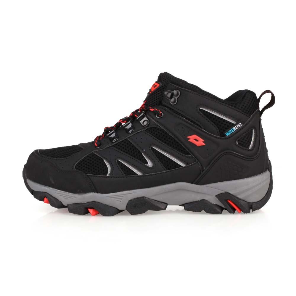 LOTTO 男防水戶外越野鞋-慢跑 登山 走路鞋 健行 黑灰紅@LT9AMO1250@