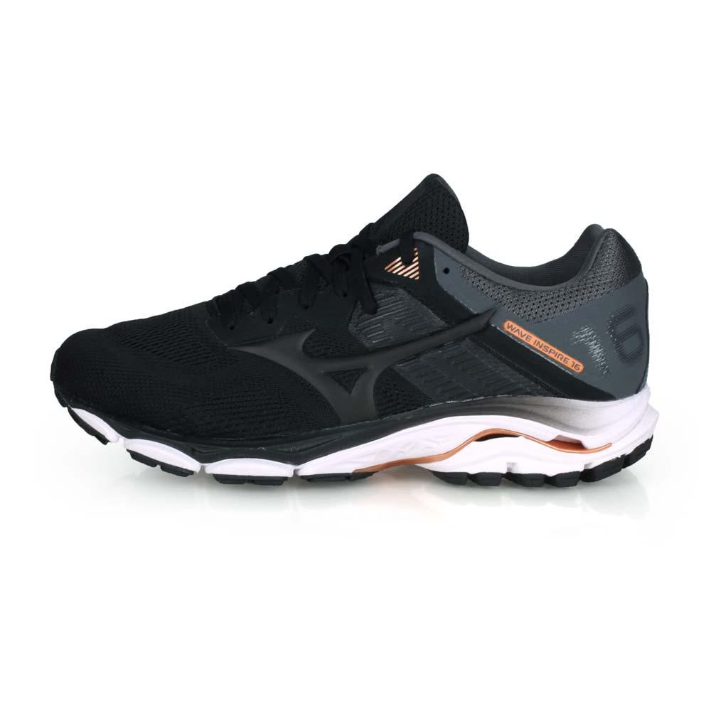 MIZUNO WAVE INSPIRE 16 SW 男慢跑鞋-WIDE-寬楦 黑灰棕@J1GC204509@