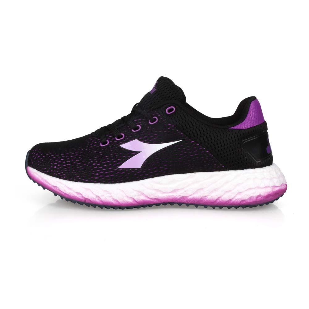 DIADORA 女專業避震慢跑鞋-走路鞋 路跑 黑紫白@DA31606@